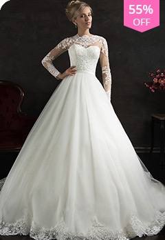c02dbe11a55 Tulle Illusion High Neckline A-line Wedding Dress with Beaded Lace  AppliquesUS  203.40 US  451.99