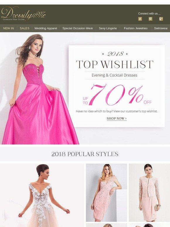 6536359acf7 Dressilyme  2018 Top Wishlist Evening Dresses Up To 70% Off