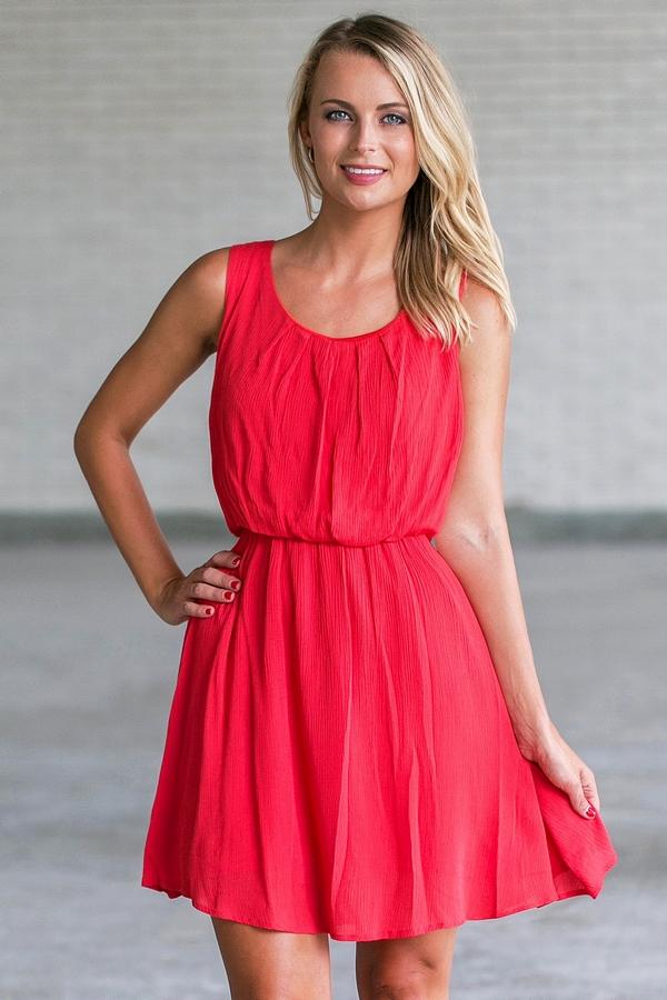 0e42b2489bc Day After Day Tie-Back Blouson Dress in Red