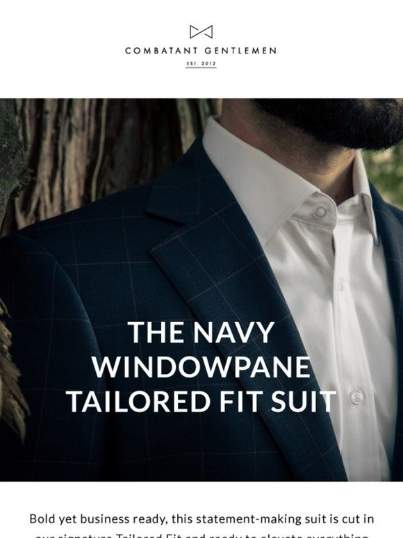 2dcf7faa3995e0 Combatant Gentlemen: The Navy Windowpane Tailored Fit Suit | Milled