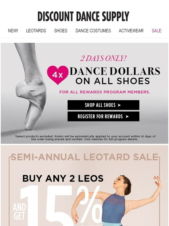 Discount Dance: Save 15% on leos  + 4X rewards on all shoes