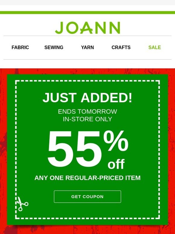 Jo-Ann Fabric and Craft Store: New Coupon JUST IN! 55% off 1 Regular