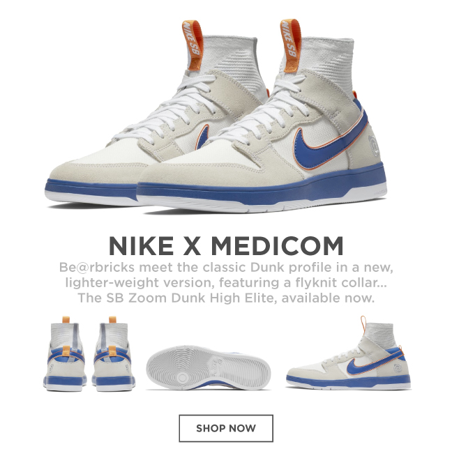 6dfbfeb1f1305 Nike SB Medicom Dunk Hi Elite QS Skate Shoes - White College Blue