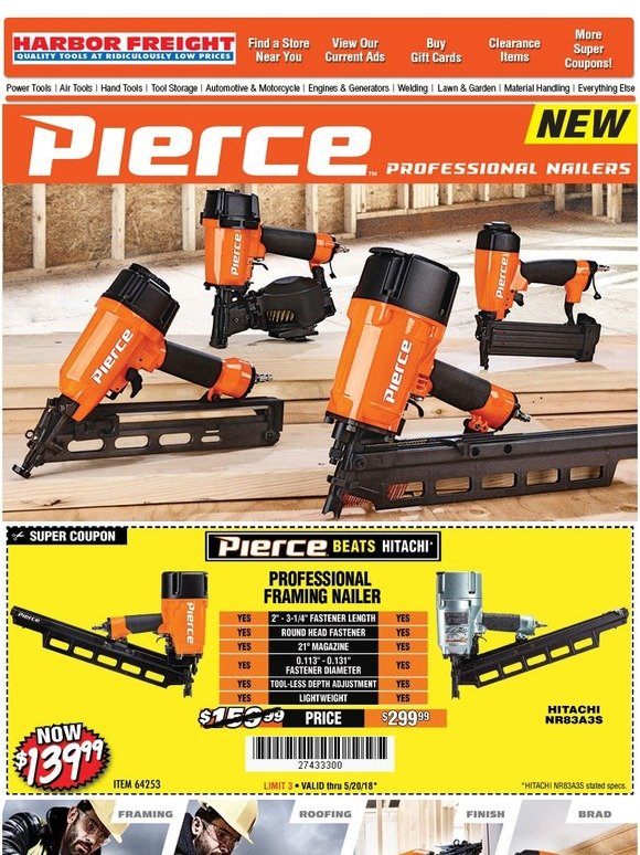 Harbor Freight Tools New Product Announcement Pierce Professional Quality Pneumatic Nailers Milled