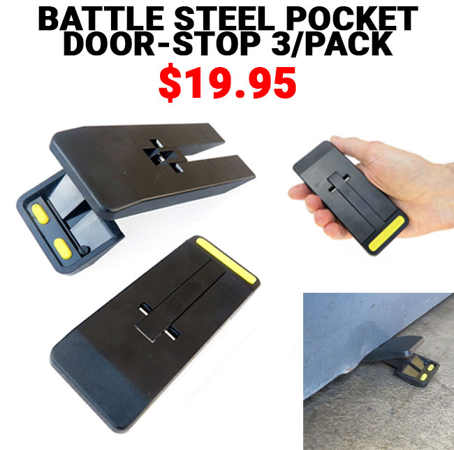 Botach: Hot New Product   Battle Steel Pocket Door Stop 3/Pack | Milled