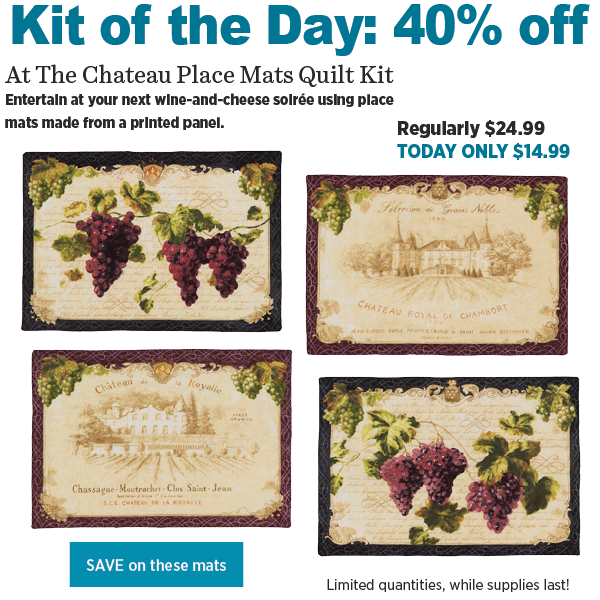Chateau Place Mats Quilt Kit, 40% off today only