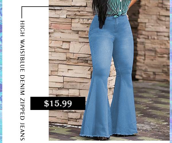 High Waist Flared Baby Blue Denim Zipped Jeans