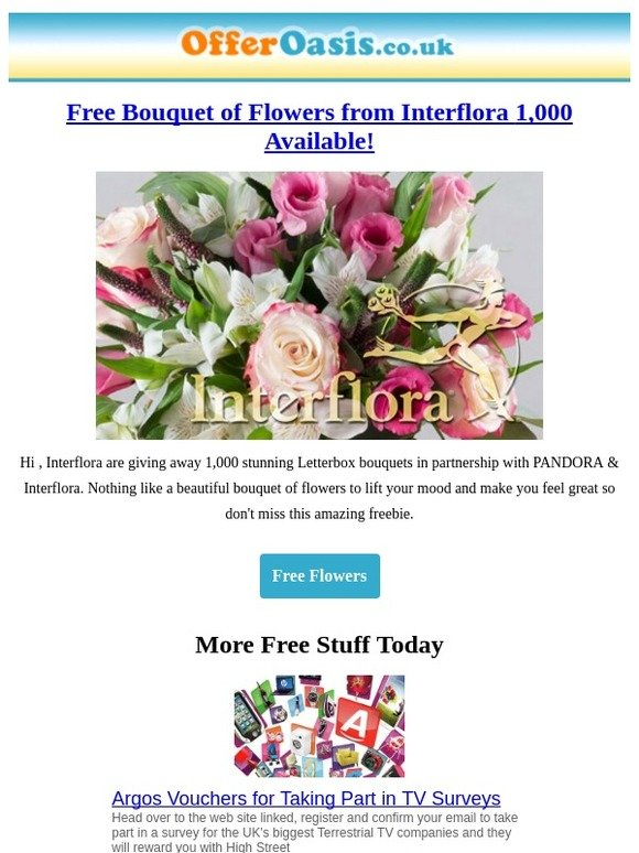 Offer Oasis: Free Flower Bouquet - 1,000 Available! | Milled