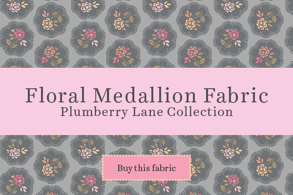 Floral Medallion Fabric by the yard, Plumberry Lane Collection