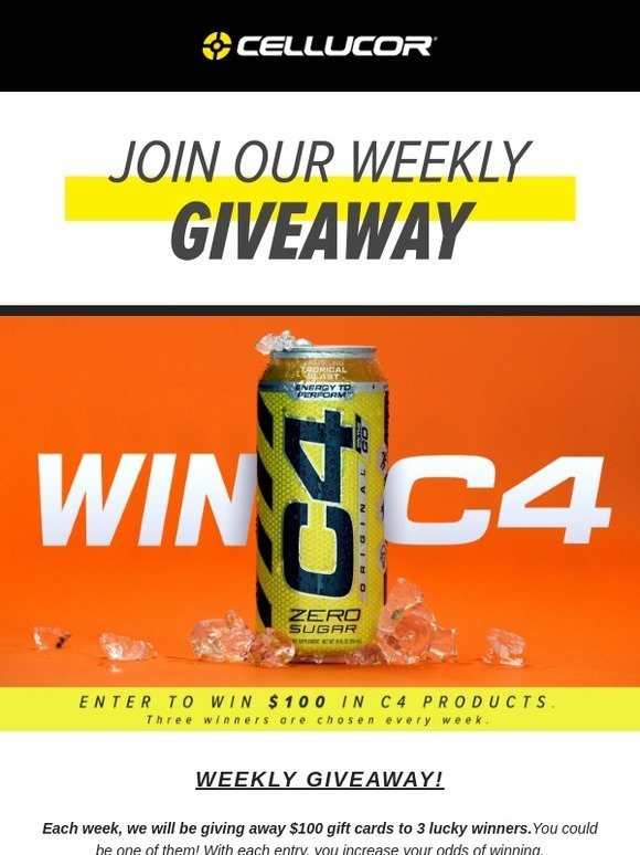 Cellucor: ENTER $100 Giveaway TODAY // New Winners Every