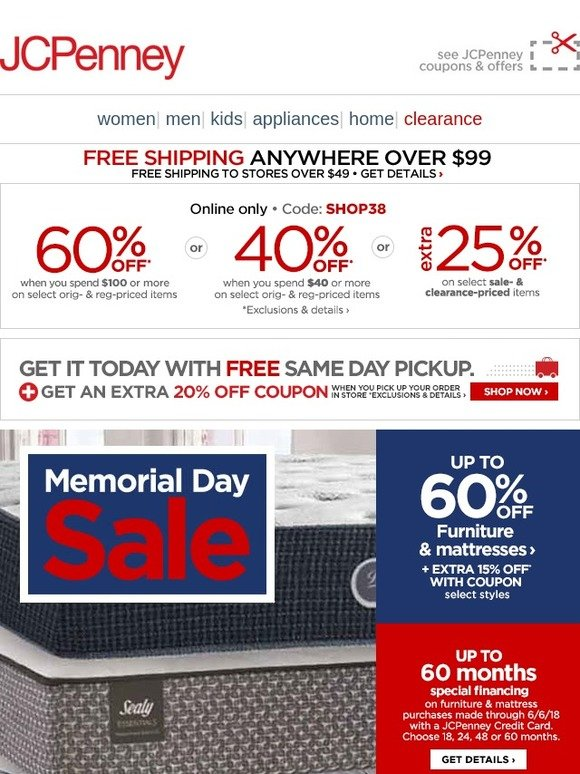bdd12c9ea2ff JC Penney  Memorial Day Sale ✩ Up to 60% off furniture   mattresses ...