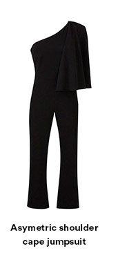 Asymetric shoulder cape jumpsuit