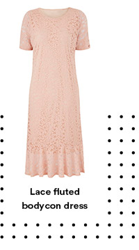 Lace fluted bodycon dress