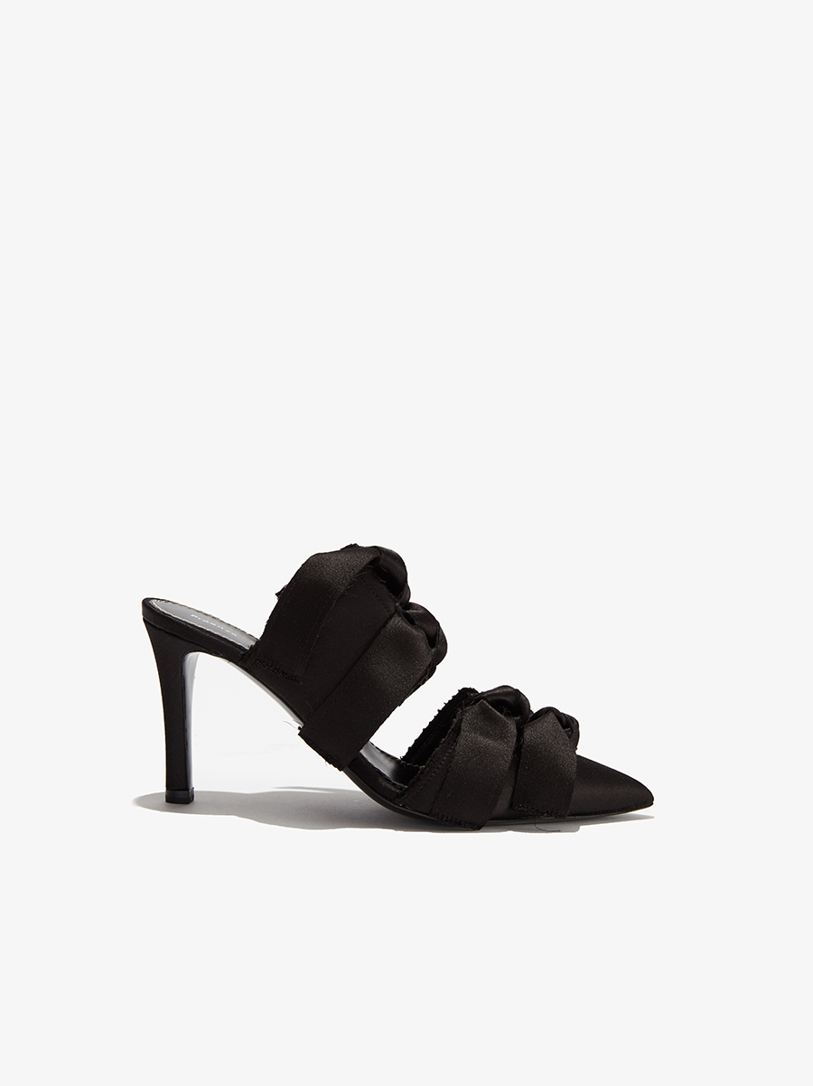 The Satin High Mule with Ties