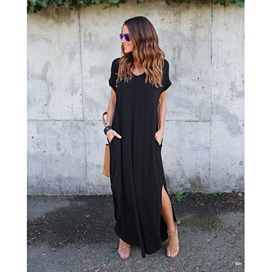 Loose Casual V Neck Split Baggy Pocket Long Maxi Dress