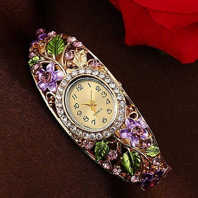 Women Bangle Crystal Flower Bracelet Quartz Watch Wristwatch Funland