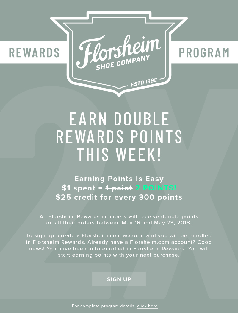 Earn DOUBLE the rewards points now through May 23! Display images to learn more!