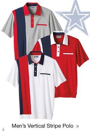 Men's Vertical Stripe Polo