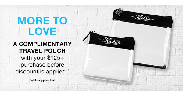 MORE TO LOVE - A COMPLIMENTARY TRAVEL POUCH - with your $125 plus purchase before discount is applied* - *while supplies last