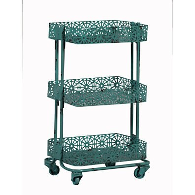 Turquoise Metal Three Tier Cart
