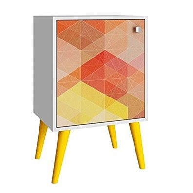 Funky Avesta Side Table with 2 Shelves in a White Frame with a Stamp Door and Feet