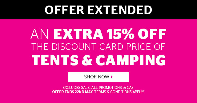 15% Off Tents And Camping