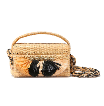 Carosello Tassel-Trimmed Mini Straw Bag