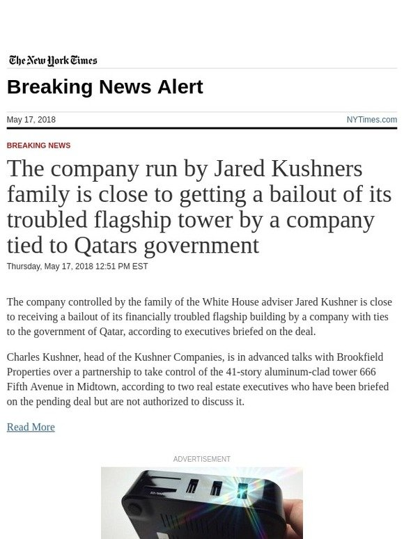 The New York Times: Breaking News: The company run by Jared