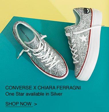 dc099a2e6850 Shop Now  Silver Converse x Chiara Ferragni One Star Platform