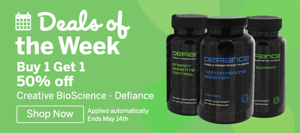Deals Of The Week. Buy Creative BioScience- Defiance products Get 1 50% off. Offer ends May 14th 2018. Shop Now!