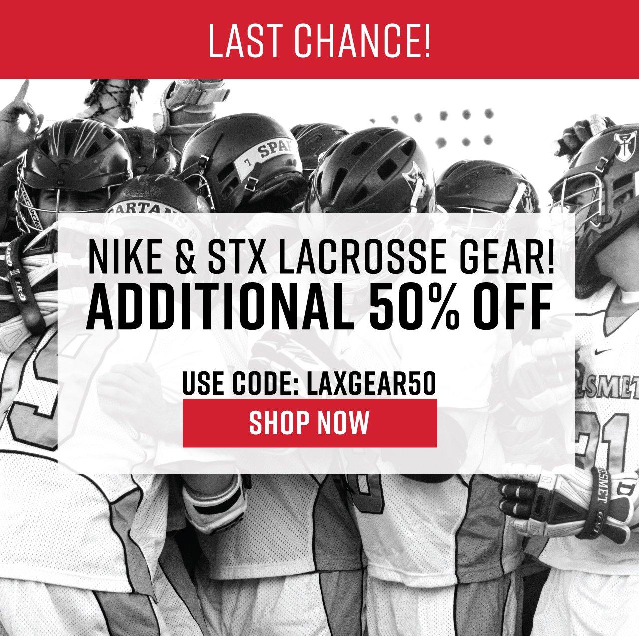 Nike & STX Lacrosse Gear! Additional 50% Off