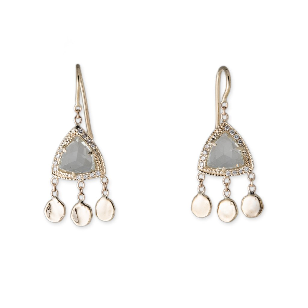 Image of Pyramid 3 Disc Drop Earrings