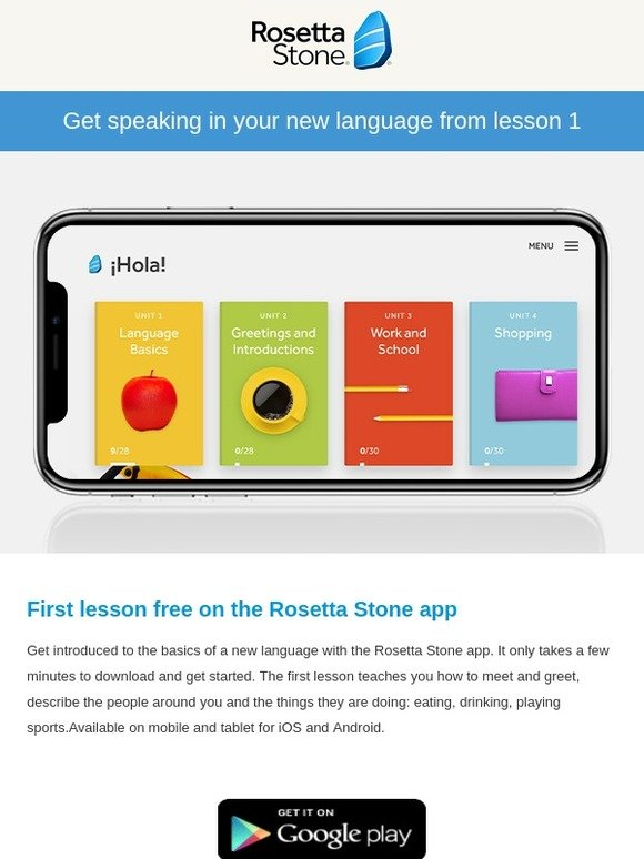 Rosetta Stone UK: Free today: Your first lesson in a new