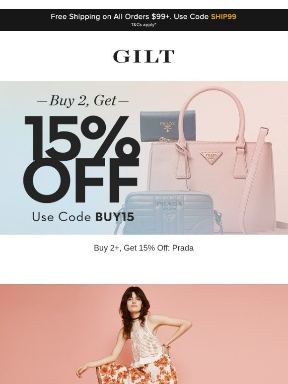 049d7df9096 Gilt  Buy 2+, Get 15% Off  Prada   Up to 70% Off  Free People and More  Start Now   Milled