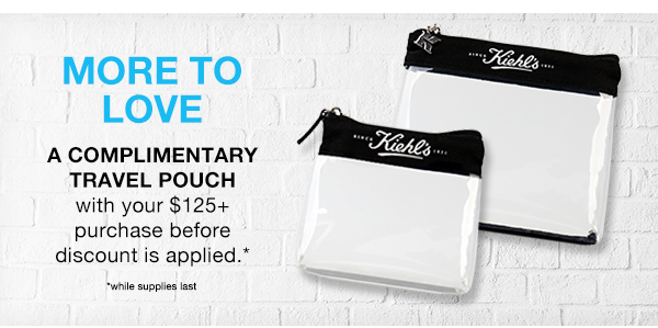 MORE TO LOVE - A COMPLIMENTARY TRAVEL POUCH - with your $125 plus purchase before the discount is applied* - *while supplies last