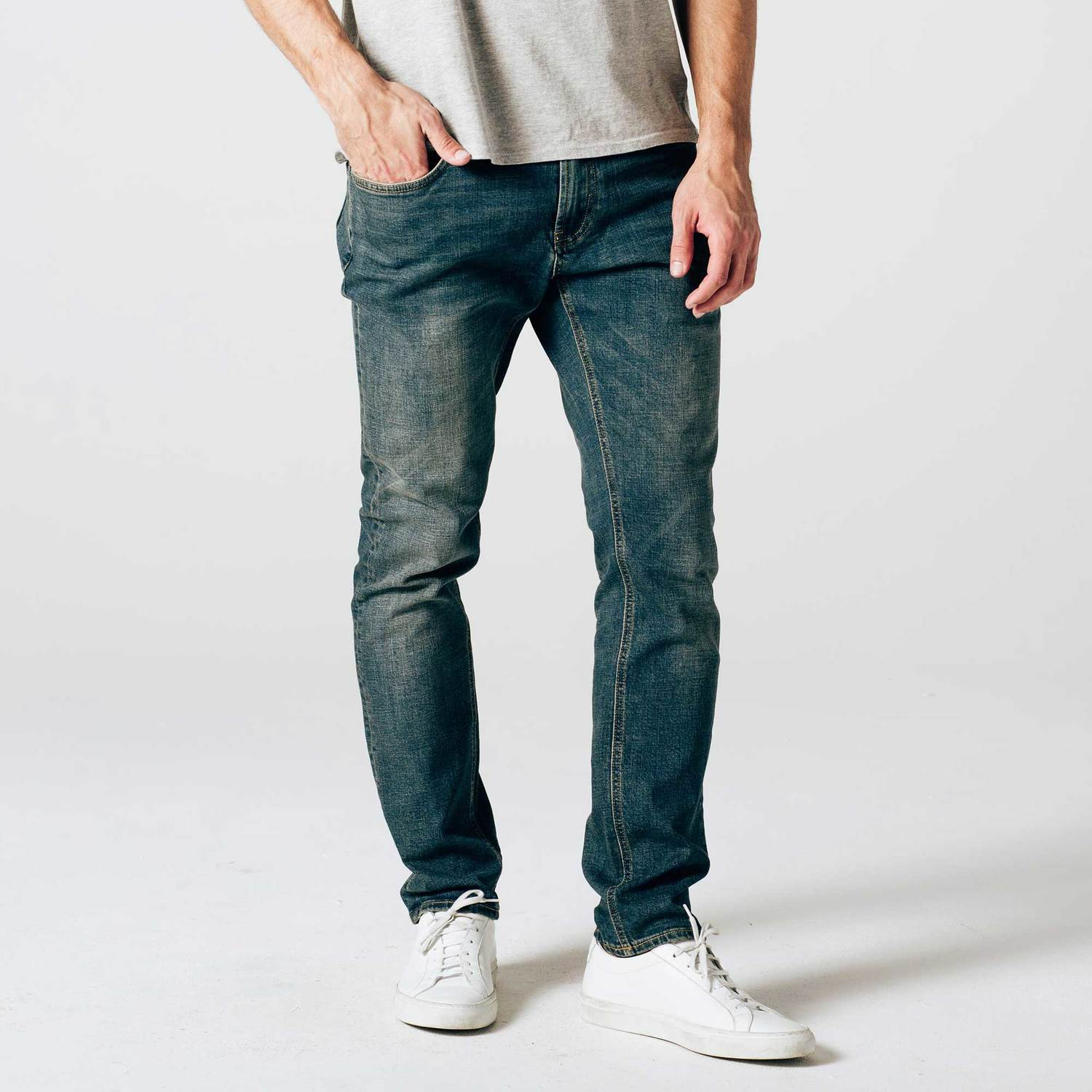 Mens Skinny-Slim Jeans in Dark Worn