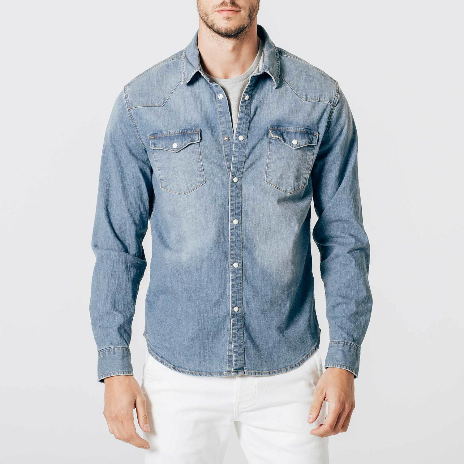 Mens Snap Button Down Denim Shirt in Light Wash