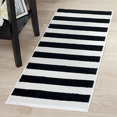 Lavish Home Breton Stripe Rug - Black & White - 1'8