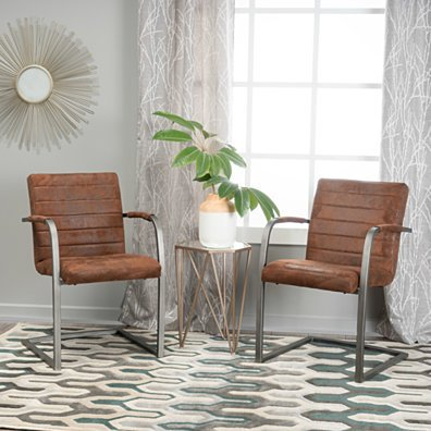 Arlo Microfiber Modern Arm Chair (Set of 2)