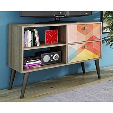Practical Dalarna TV Stand with 2 Open Shelves and 2- Drawers in Oak and Stamp Door