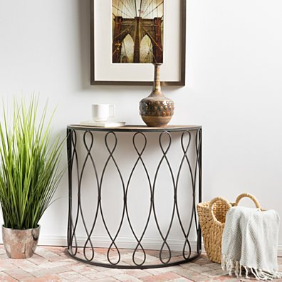 Marbella White Rusty Firwood Large Console Table