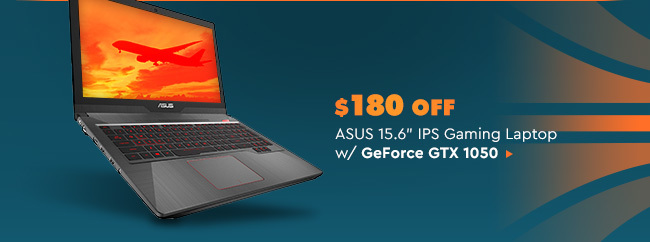 "$180 OFF ASUS 15.6"" IPS Gaming Laptop w/ GeForce GTX 1050"