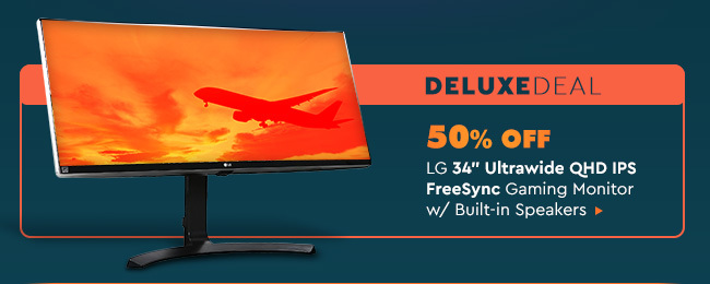"Deluxe Deal - 50% OFF LG 34"" Ultrawide QHD IPS FreeSync Gaming Monitor w/ Built-in Speakers"