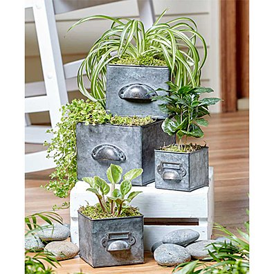 Set of 4 Galvanized Drawer Planters with Liners.. Galvanized Steel