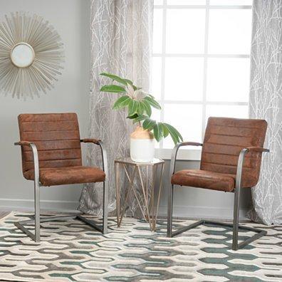 Arlo Microfiber Modern Arm Chair (Set of 2)
