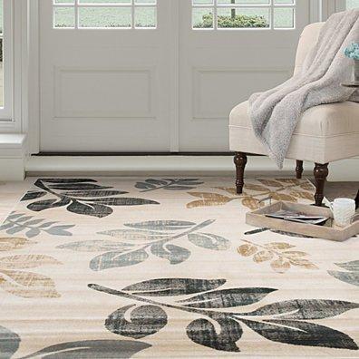 Lavish Home Opus Falling Leaves Area Rug - Cream - 8'x10'