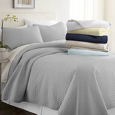Home Collection Premium Quilted 3 Piece Coverlet Set - 3 Beautiful Designs