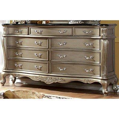 Opulent Lush Luxurious Designer Wooden Dresser, Gold Design