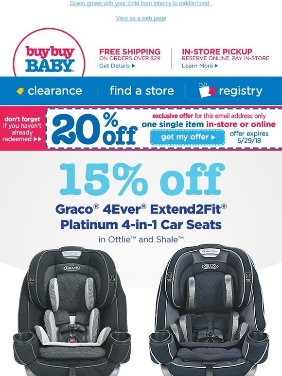 Buybuy BABY Re 20 Off Coupon SAVE 15 On Select Graco Essentials As A Thanks
