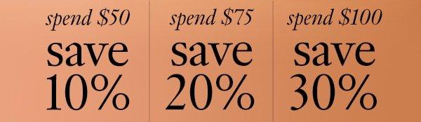 spend $50 save 10%, spend $75 save 20%, spend $100 save 30%